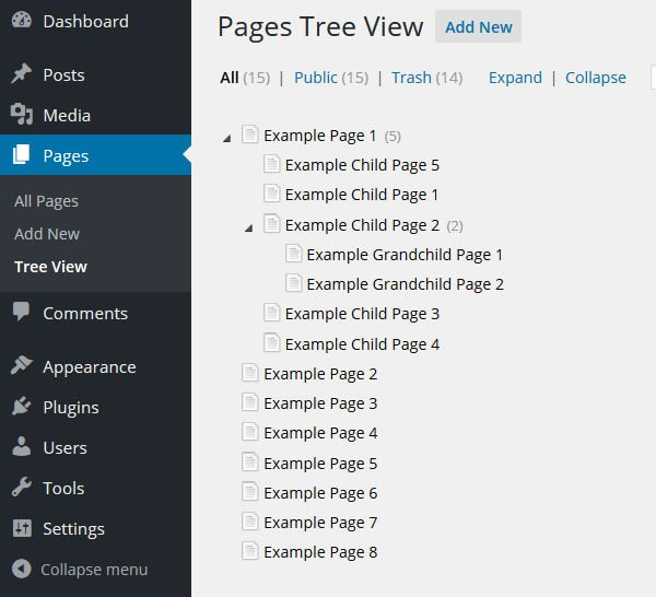 CMS Tree Page View screenshot