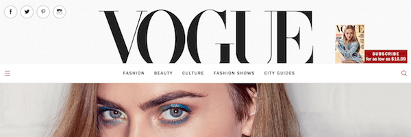 Shot of Vogue's homepage