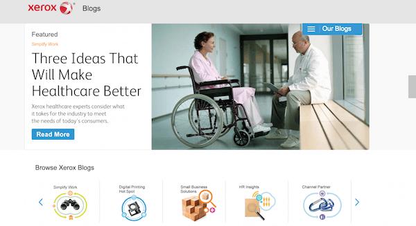 Xerox homepage