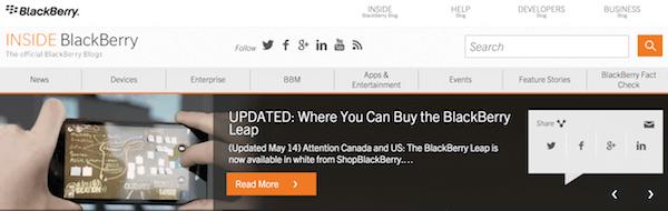 Blackberry homepage