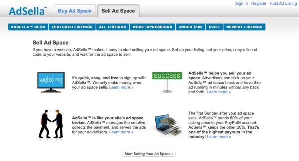 Sell Ad space with AdSella