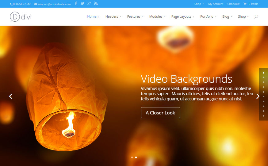 Divi Theme with a Video Background