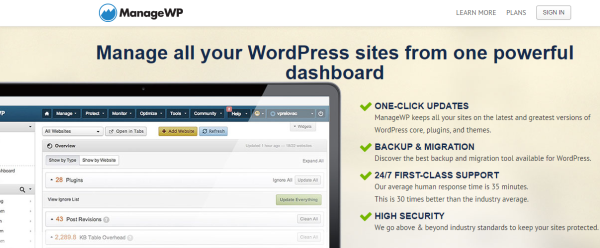 Wordpress with SaaS - ManageWP