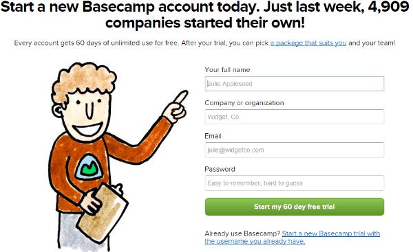 BaseCamp Social Proof Landing Page