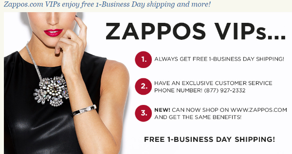 Zappos addresses pain points on its landing page