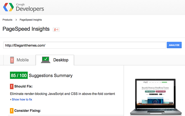 Google Page Speed Insights tools
