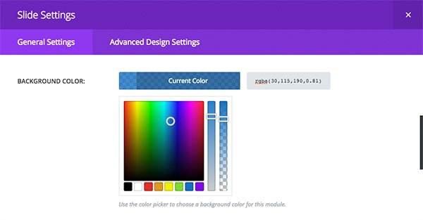 This is what the background color picker looks like in the context of an individual slide