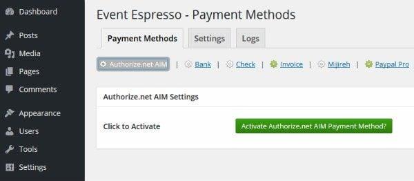 Event Espresso Activate Payment Gateway