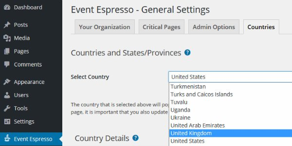 Event Espresso Country Settings