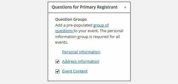 Event Espresso Question Groups