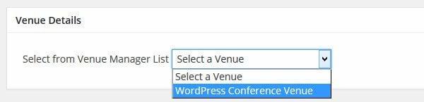 Event Espresso Select Venue