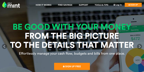 A prominent call to action on the Mint homepage