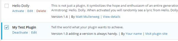 WordPress Plugin Development - Activated test plugin