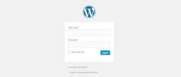 Standard WordPress login screen.