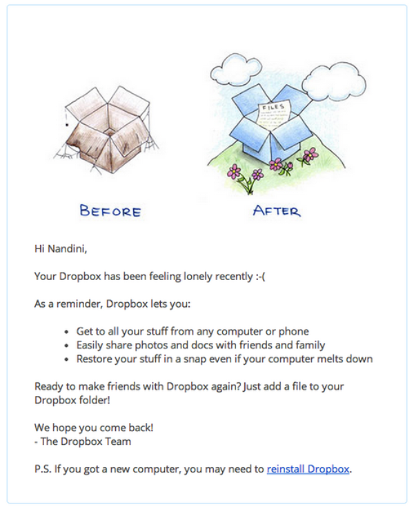 Dropbox sends trigger-based emails