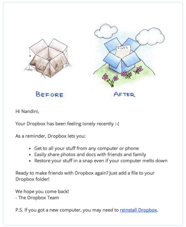 Dropbox sends trigger-based emails