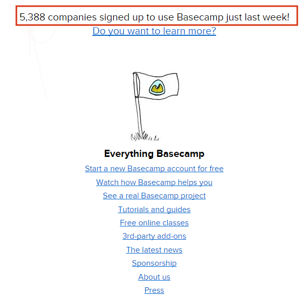 Basecamp provides social proof to reduce SaaS churn