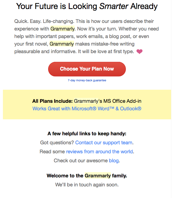 Grammarly Abandoned Cart Email
