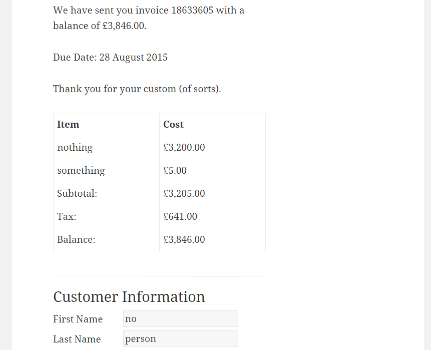 WP-Invoice Front End example.