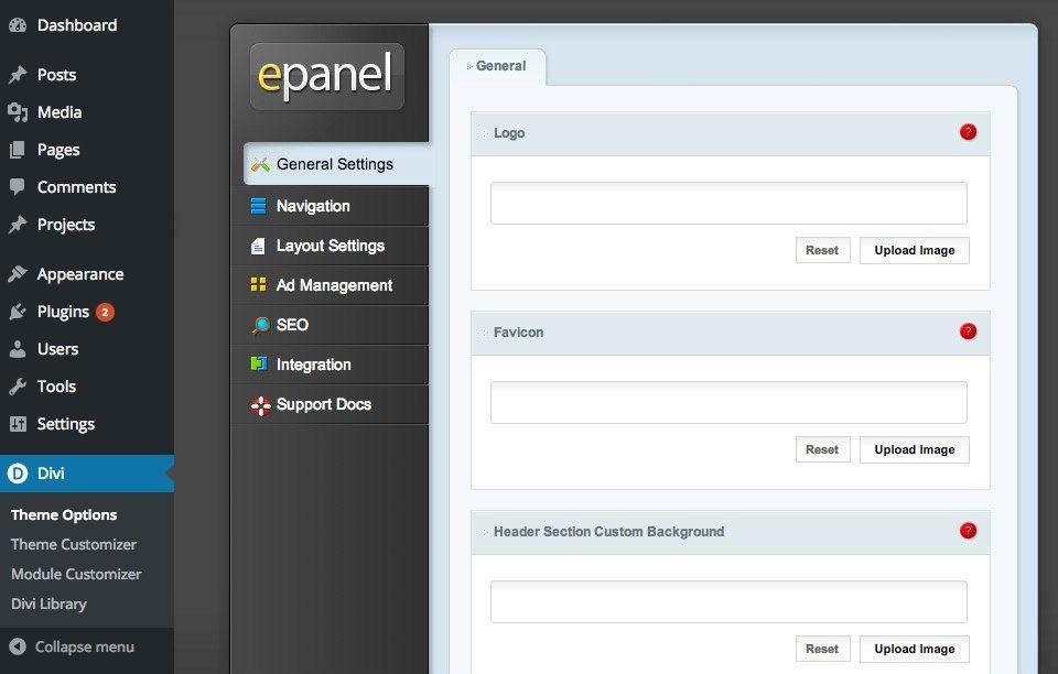 Elegant Themes ePanel access.