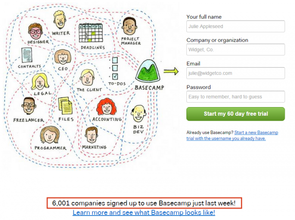 Basecamp displays social proof the right way