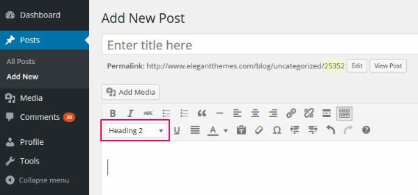 WordPress Header Tags