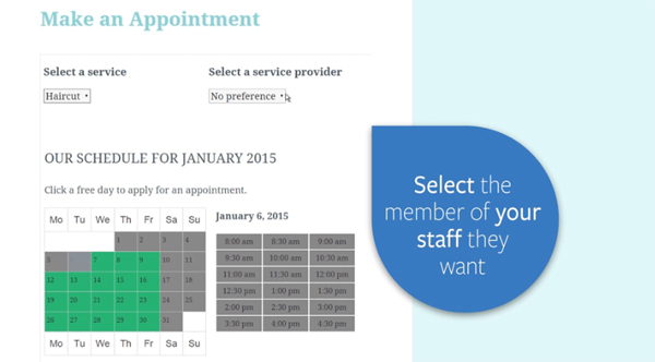 Appointments+ Booking Menu