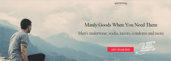 An example of a simple call to action, front and center on Manpacks.com