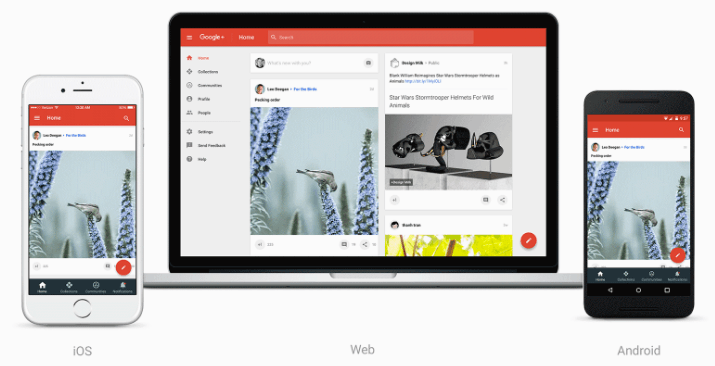 The redesigned Google+ home page.