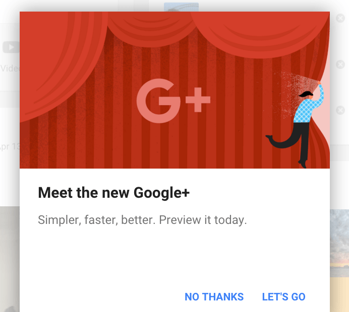 Test new version of Google+