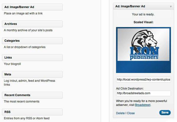 WordPress Ad Widget Dashboard