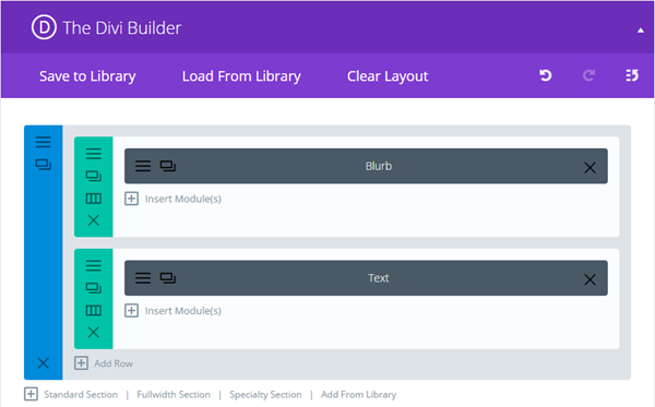 The Divi Builder interface