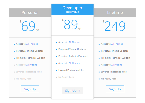 Divi Features Pricing Table