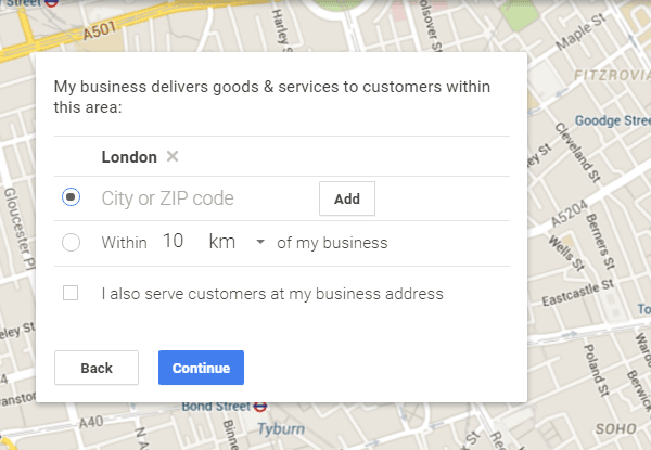 Google My Places Set Service Area