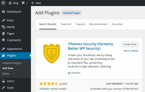 Install iThemes Security Lite