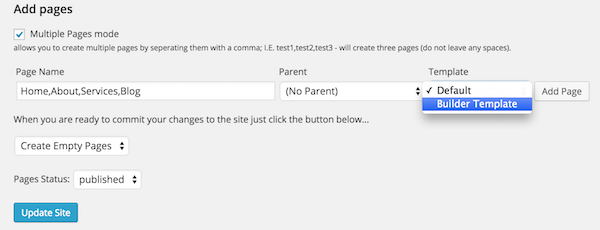 Screenshot of the Bulk Page Creator plugin