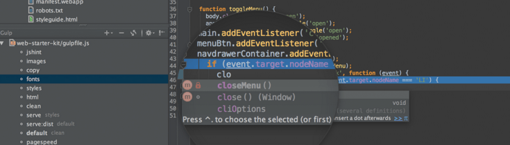 The WebStorm text editor from JetBrains.