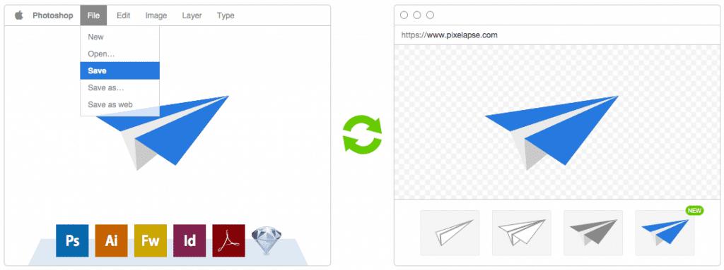 Pixelapse version control for designers