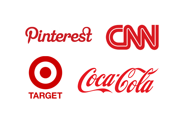 Red color stands for love, and more in a logo