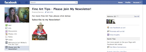 Increasing email sign ups via Facebook