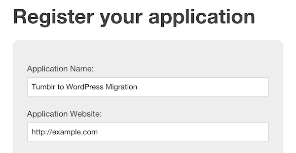 Tumblr App Registration Fields