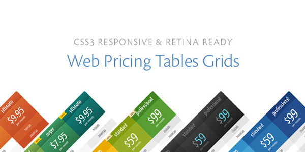 The official header for CSS3 Responsive & Retina Ready Web Pricing Tables Grids.