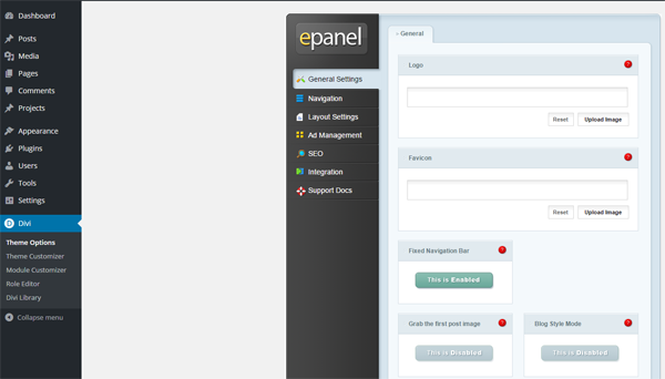 The Divi ePanel main screen.