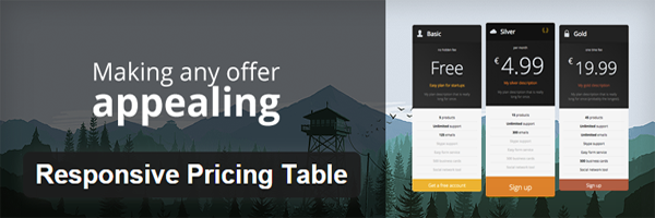 The official header for Responsive Pricing Table.