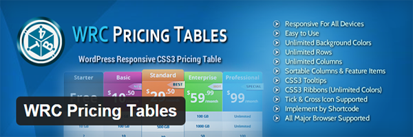 The official header for WRC Pricing Tables.