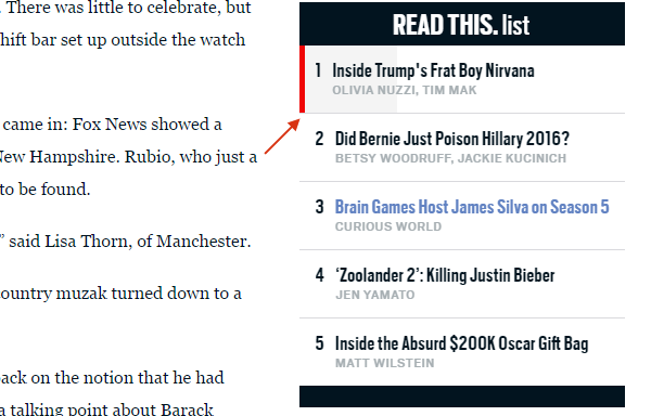 Daily Beast uses microinteraction