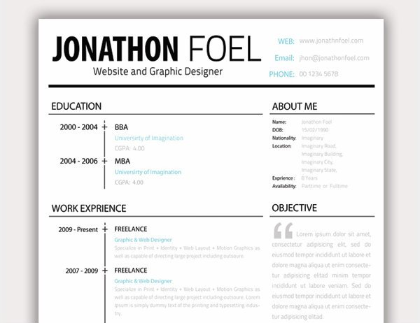 20 free resume design templates for web designers elegant themes blog ashiqul islam resume yelopaper Gallery