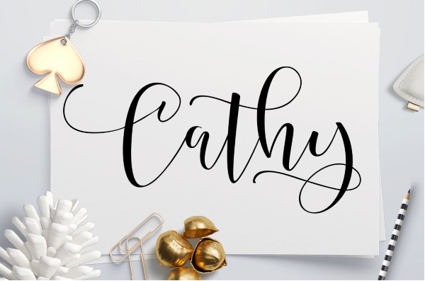 Cathy Is A Hand Written Script Font That Looks Like Fancy Cursive It Has Lot Of Glyphs Initial And Terminal Letters Ligatures Alternate Fonts