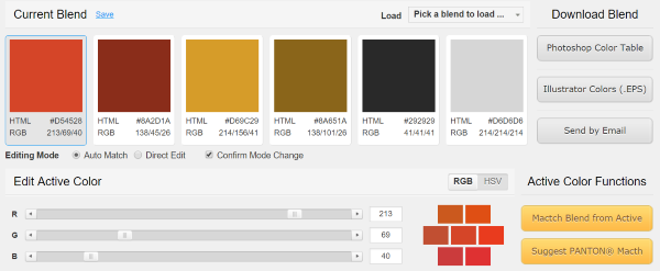 Colorblender Lets You Create Color Palettes Using Rgb Sliders Can Select From Their Premade Or Adjust Them Any Way Want