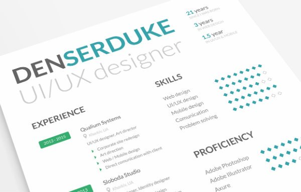 20 free resume design templates for web designers